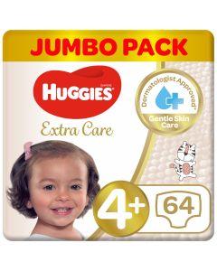 Huggies Extra Care 4+ jumbo 64 Diapers